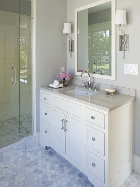17 best ideas about grey bathroom decor on pinterest for Gray and pink bathroom ideas