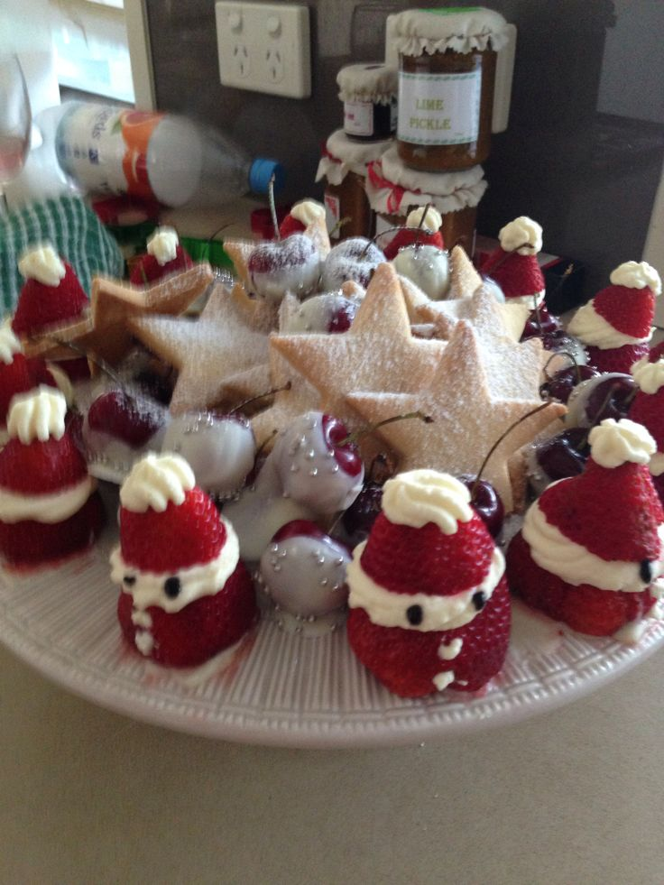 Strawberry  Shortbread stars White chocolate cherries A great platter for taking to friends at xmas