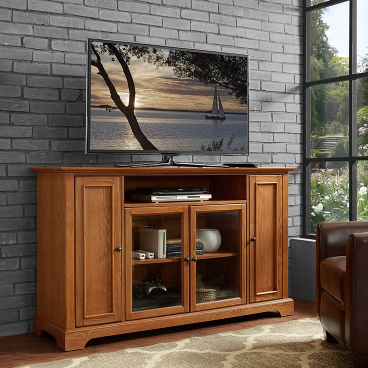 "Campbell 60"" TV Stand in Oak Finish from Crosley"