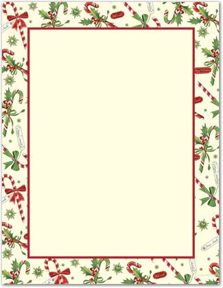 Candy Cane Holly Letterhead Christmas Stationery
