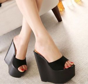 40d16922f9e Party Women Super High Heels Platform Wedge Sandals Slides Pumps Open Toe  Shoes