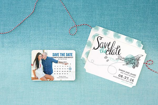 photo save the date magnet calendar and blue save the date with airplane illustration