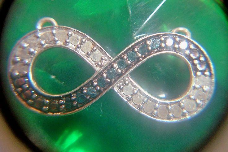 "Vintage ""Scott Kay"" Infinity Pendant-SK-Sterling Silver .925 w/ Blue & White Rough Cut Diamonds by TexasPickinsGiftShop on Etsy"