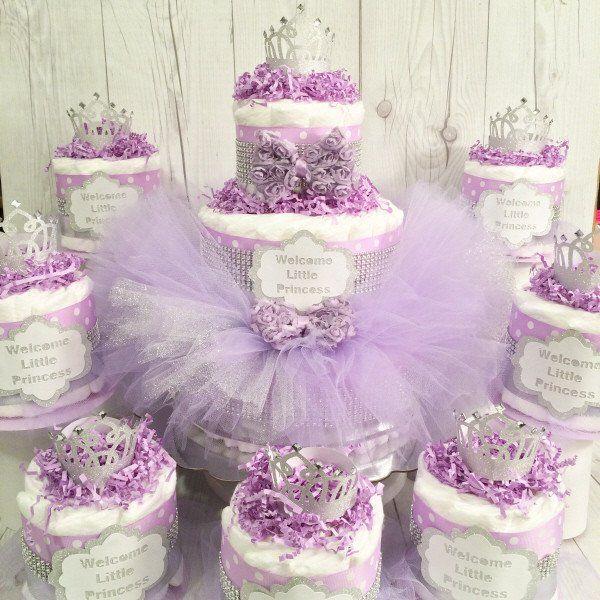Lavender and Silver Princess Tutu Diaper Cake Centerpiece Set