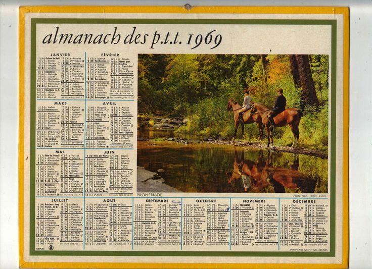 CALENDRIER, ALMANACH PTT - ANNEE 1969 - PROMENADE A CHEVAL