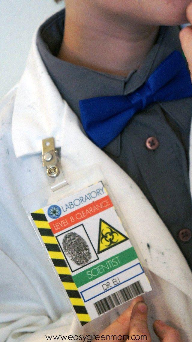 DIY Mad Scientist Costume and Scientist Badge Free Printable                                                                                                                                                                                 More