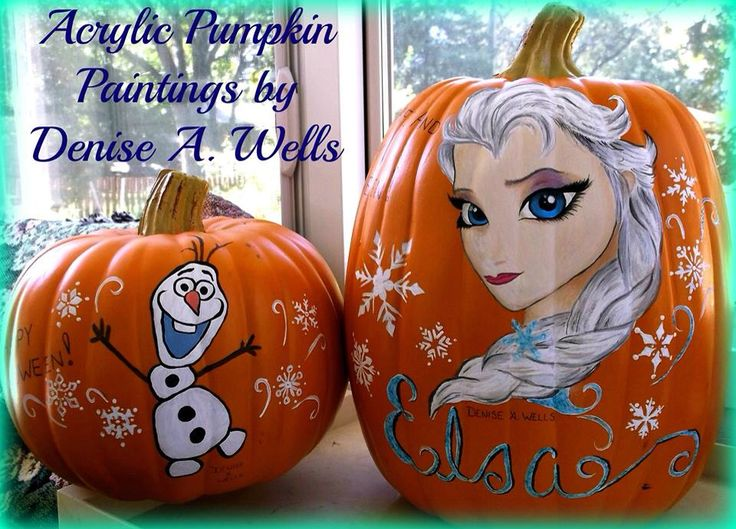 olaf and elsa pumpkin paintings denise a frozen movie elsa frozen movie olaf the snowman halloween pumpkin halloween elsa from frozen - Frozen Halloween Decorations