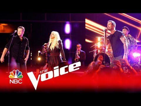 "The Voice 2016 - Christina Aguilera, Adam Levine, Pharrell Williams and Blake Shelton: ""I Wish"" - YouTube"