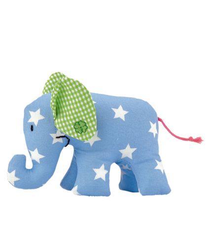 Der Käthe Kruse Mini Elefant ist ein formschönes Greifspielzeug und aus hochwertigem Baumwollstoff genäht. Mit dem Rasselgeräusch lädt er Kinder zum Greifen und Spielen ein. Die Größe von 11cm ist ideal für erste Greifübungen. Der Elefant ist mit weicher Polyesterwatte gefüllt und das Gesicht ist handgestickt. Erhältlich in verschiedenen Farb- und Stoffmustern.