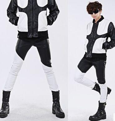 저렴한 2014 새로운 남성 패션 개인 블랙 화이트 패치 워크 스키니 가죽 바지, 슬림 맞춤 의상 가죽 바지, 구매 품질 캐주얼 바지…