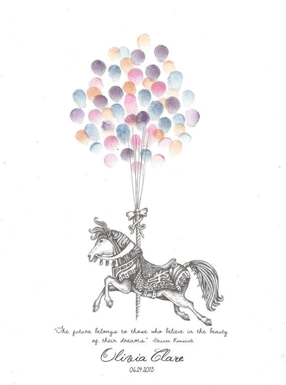 Carousel Horse Fingerprint Guest Book Birthday by PTWatersDesigns