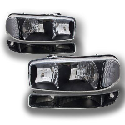 GMC Yukon 2000-2006 Black Clear Headlights and Bumper Lights | A128OXB9213 - TopGearAutosport
