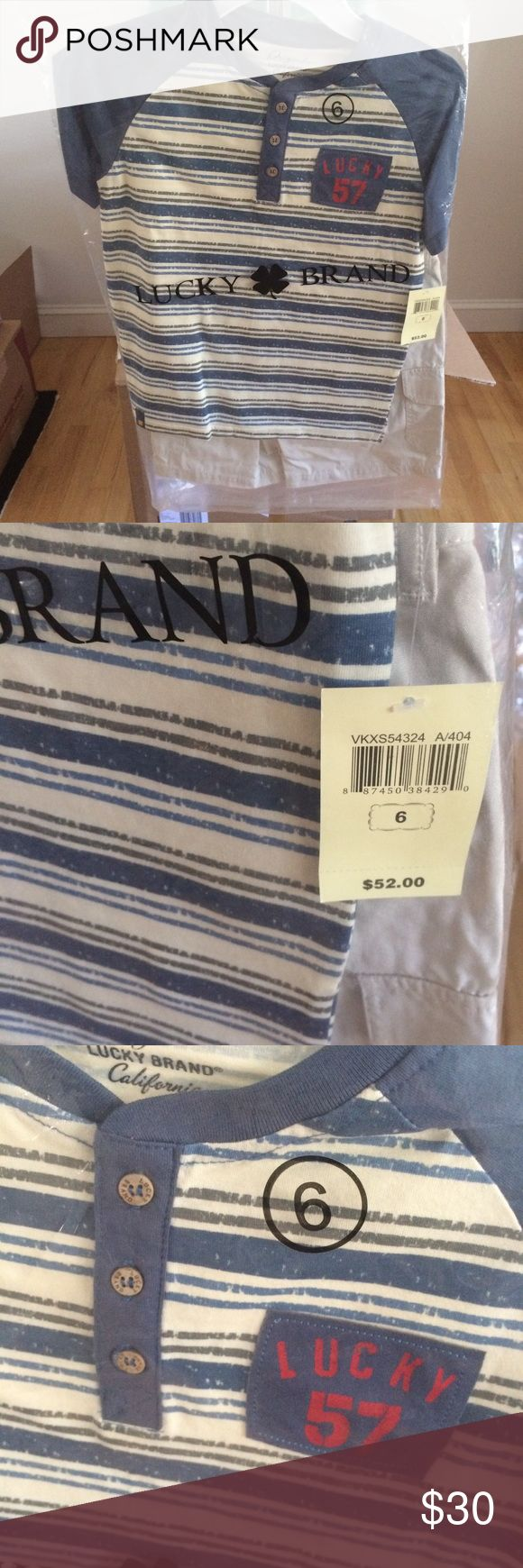Lucky Brand Boys Tee and Khakis Set, 6 Lucky Brand Boys Tee and Khakis Set. Size 6. Boutique items are direct from manufacturer, meaning they are being sold retail for the first time here. Please bundle for an additional 10% off MSRP! Lucky Brand Matching Sets