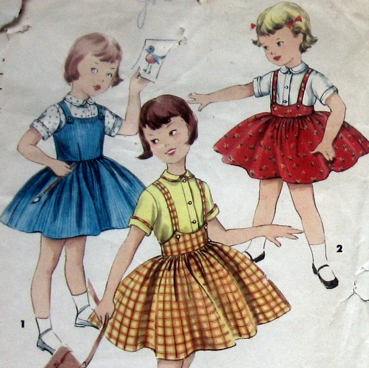 Vintage 50s Girls Dress Pattern Jumper And Blouse Simplicity 1702