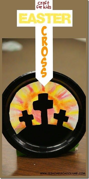 Easter Cross Craft for Kids - great Bible Craft for Easter lessons in Sunday school lessons for toddler, preschool, kindergarten, first grade, 2nd grade, and 3rd grade kids using paper plates, markers, and coffee filters
