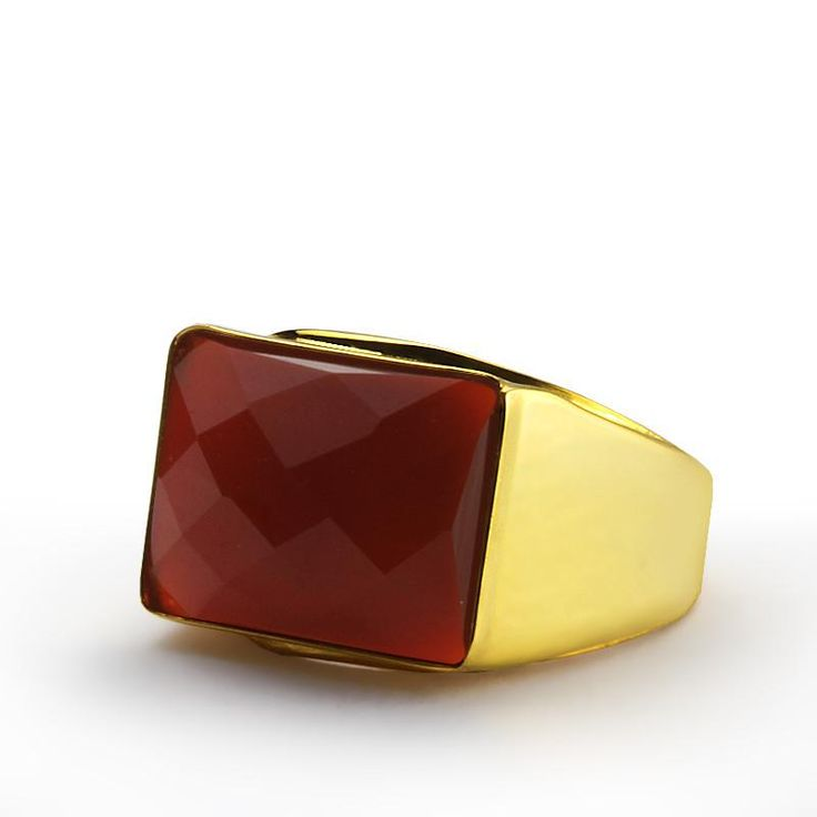 Men's Ring in 14k Yellow Gold with Natural Red Agate Gemstone #ring #mensaccessories #giftforhim #giftforman #mensstyle #turquoise #onyx #gem
