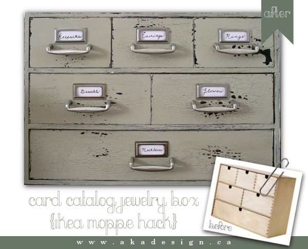 DIY card catalog jewelry box with titles - step by step tutorial with pics