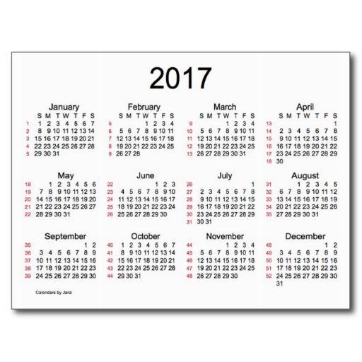 52 Weeks 2017 Mini Calendar by Janz Postcard | Calendars by Janz ...