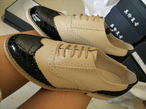 Tienda Online 2016 Del cuero Genuino de gran tamaño de la mujer 11 del diseñador de la vendimia plana zapatos de punta redonda hecha a mano de color beige azul oxford zapatos para mujeres de piel | Aliexpress móvil