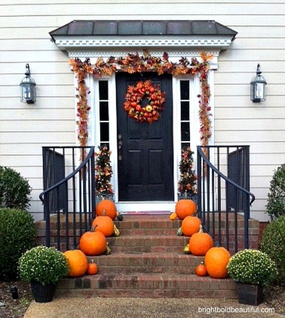 Fall Outdoor Decorating Ideas Pumpkins And Seasonal Garland