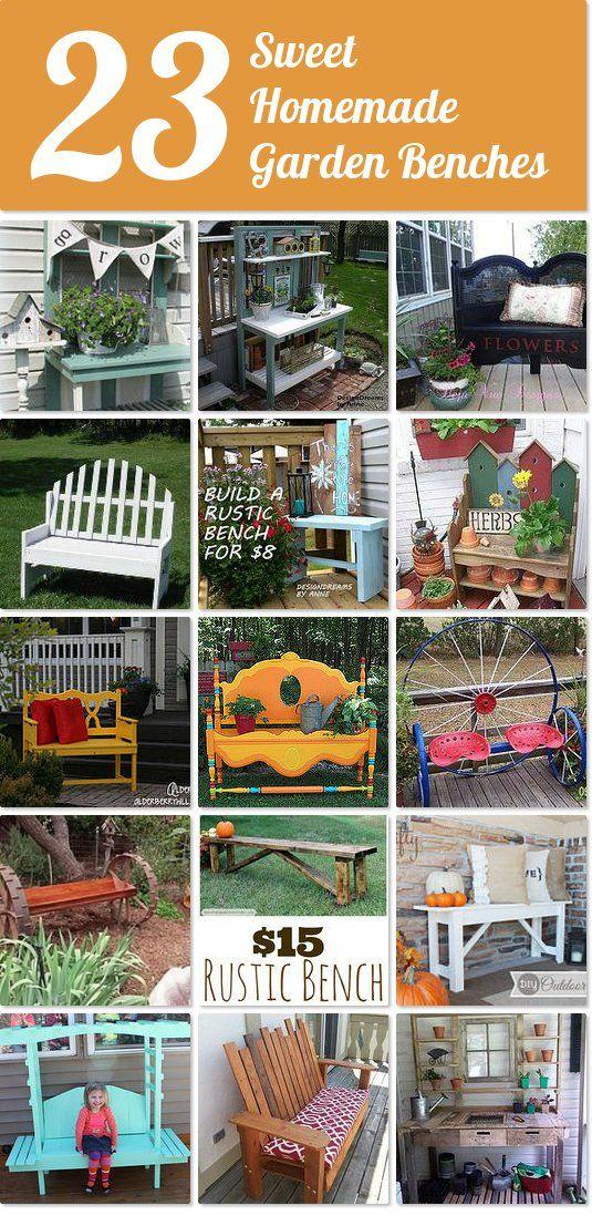 23 sweet homemade garden benches | Hometalk