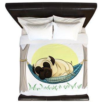 Pug in a Hammock King Duvet from cafepress store: AG Painted Brush T-Shirts. #pug #duvet #bedroom