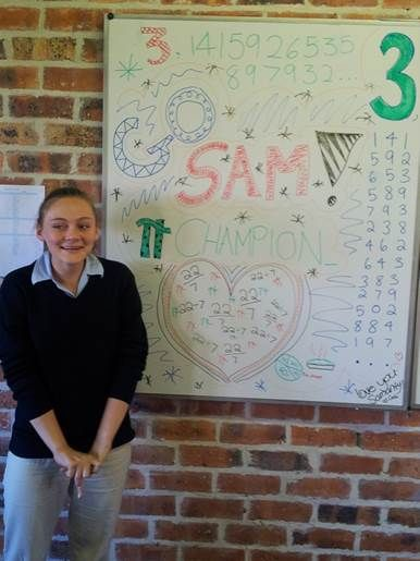 """""""The high school celebrated their annual Pi Day. The day started with a Pi- reciting competition which was one of the closest and most successful to date. The competition was stiff, but Samantha Knupp in Grade 8 rose victorious after reciting 495 digits without error and then, after correcting her error, went on to recite 620 in total!"""
