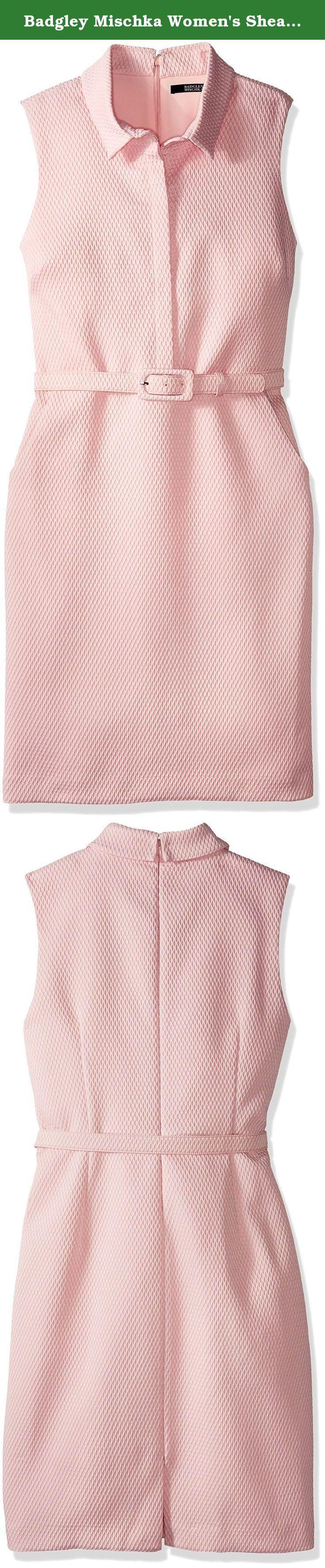 Badgley Mischka Women's Sheath Shirt Dress, Light Blush, 16. Petal pink shirt dress with belted waist.