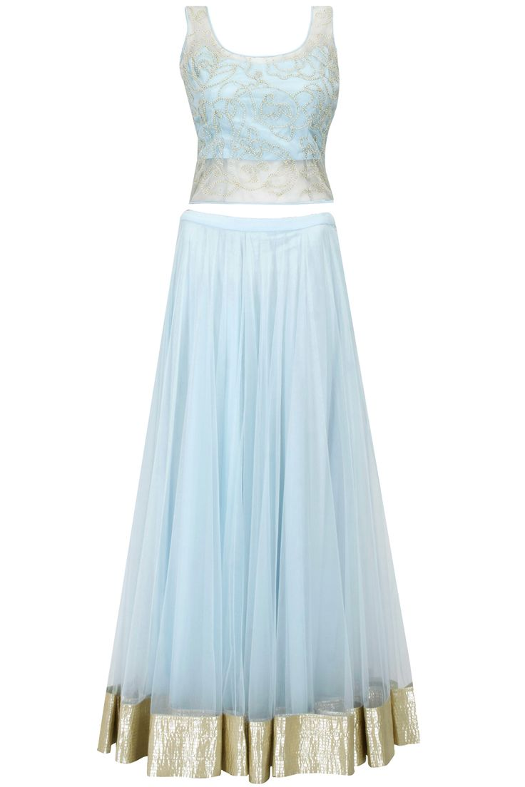 Light blue pearl embroidered lehenga set available only at Pernia's Pop-Up Shop.