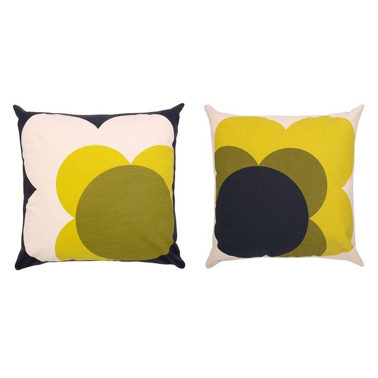 Orla Kiely - Single Bigspot Shadow Flower Cushion Yellow - 45x45cm