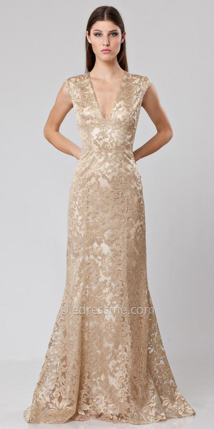 js collections dress cap sleeve v-neck lace evening gown « Bella ...