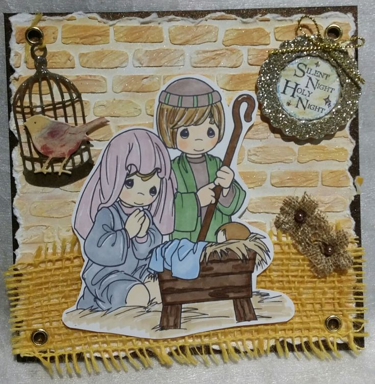 Challenge 39 - Nativity. Precious Moments digi stamp.  Brick stencil, modelling paste, Tea Dye and Scattered Straw distress inks, Biscotti pearl mist. The sentiment is LOTV which I stuck in a Jolees sticker frame. I added two Petaloo burlap flowers.
