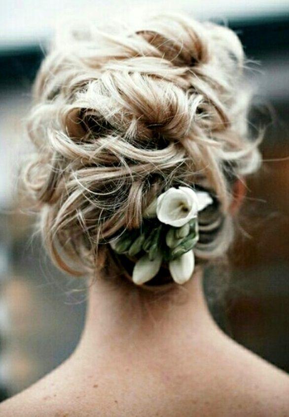 Bride's looped messy #updo bridal #hair ideas ToniK #Wedding #Hairstyles ♥ ❷ #flowers