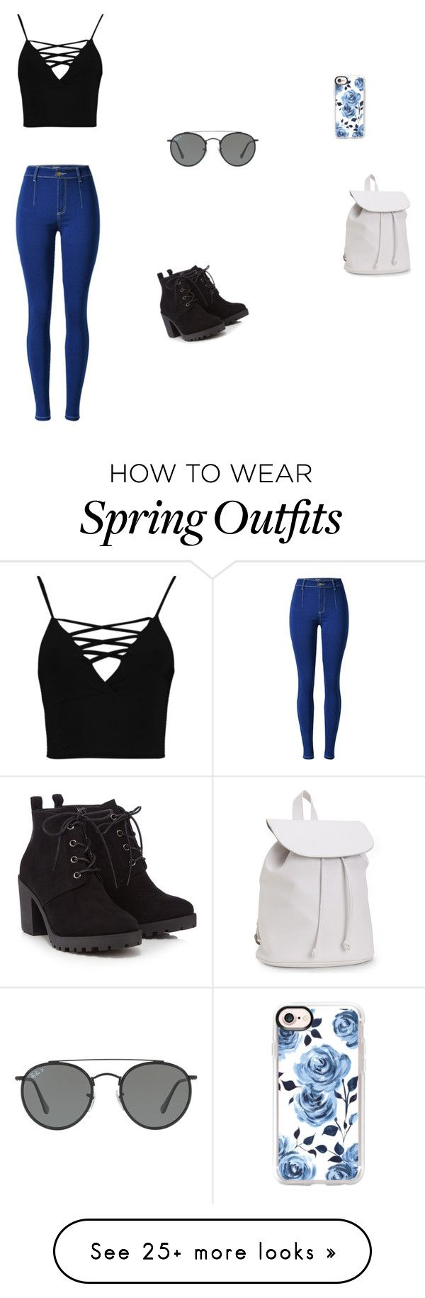"""""""A spring outfit and accessories"""" by blondeness21 on Polyvore featuring Boohoo, Red Herring, Aéropostale, Ray-Ban and Casetify"""