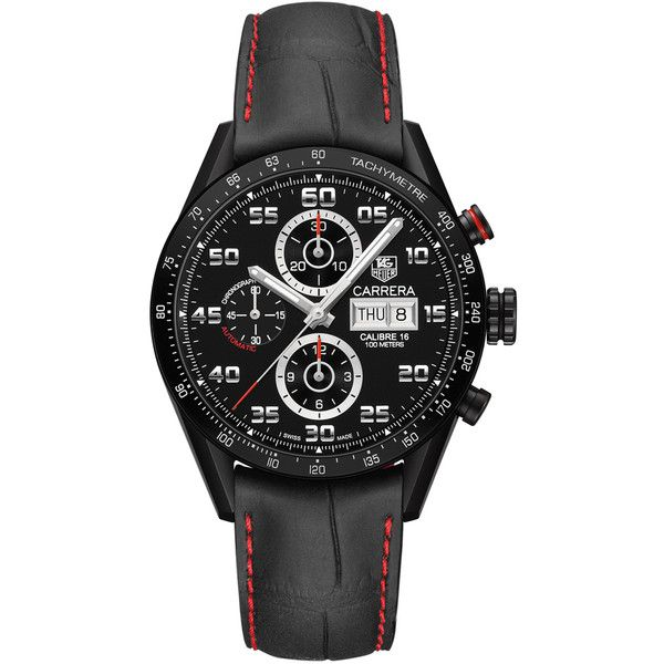 Men's TAG Heuer Carrera Automatic Chronograph Day-Date Watch ($5,200) ❤ liked on Polyvore featuring men's fashion, men's jewelry, men's watches, tag heuer mens watches, mens chronograph watches, mens chronograph watch, mens black face watches and mens blue dial watches