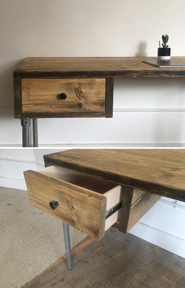 Industrial Reclaimed Wood Desk With Drawer By Riz And Mica Make