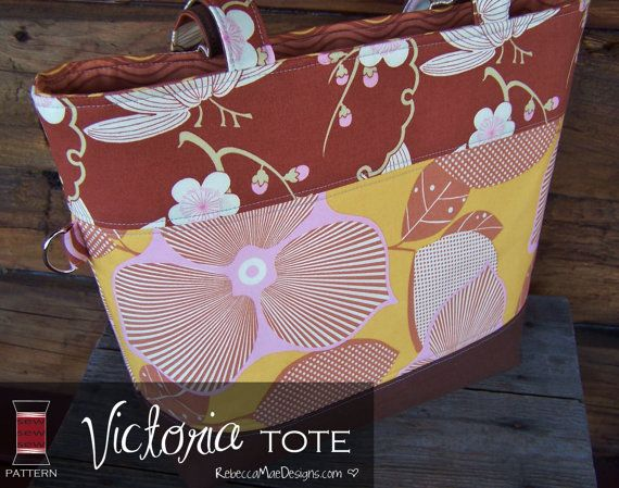 Quilted Tote Bag Sewing Pattern  Victoria by RebeccaMaeDesigns, $8.00: Patterns Victoria, Bag Sewing Patterns, Bags Sewing Patterns
