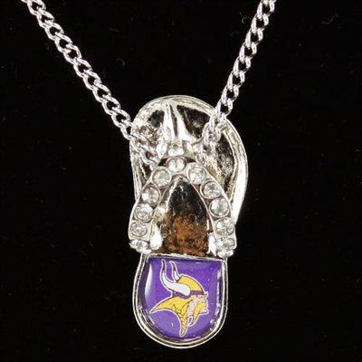 Minnesota Vikings Crystal Flip Flop Necklace