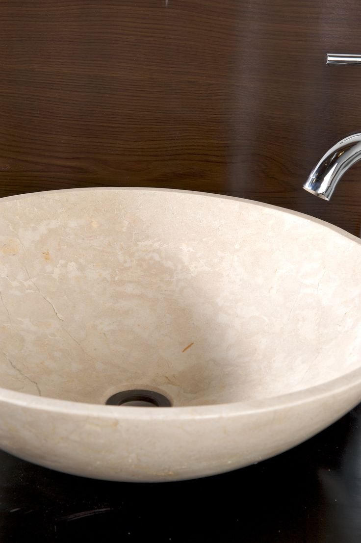 Beautiful  Crema Marfil stone basin.