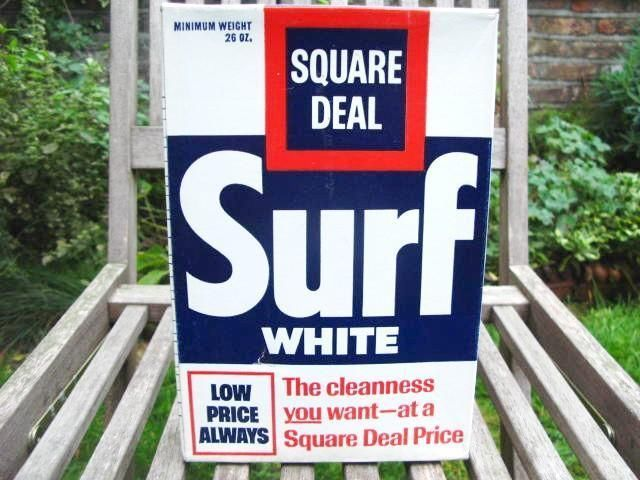Vintage SURF WHITE 1970s SOAP POWDER 'SQUARE DEAL'  Unopened Packet + Contents