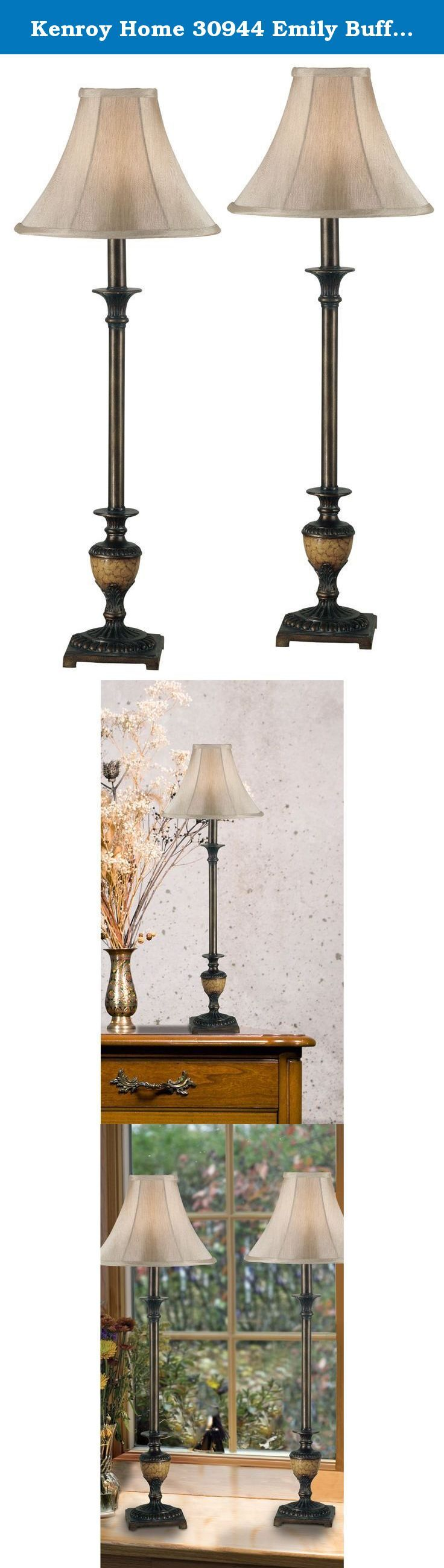 Kenroy Home 30944 Emily Buffet Lamp, 2 Pack, Crackle Bronze. Add warmth and elegance to your dining room sideboard with these Victorian inspired buffet lamps, featuring tapered bases in a warm crackle bronze tone finish and graceful bell shaped shades. Ideal for a formal dining room, the lamps are sold in a set of two. Set of 2. 11 in. diameter Light Gold Bell Shade. Crackle Bronze finish. Requires 1-60 Watt Medium Base Bulb, On/Off Switch, Not Included. Assembly required. 11 in. Dia. x…