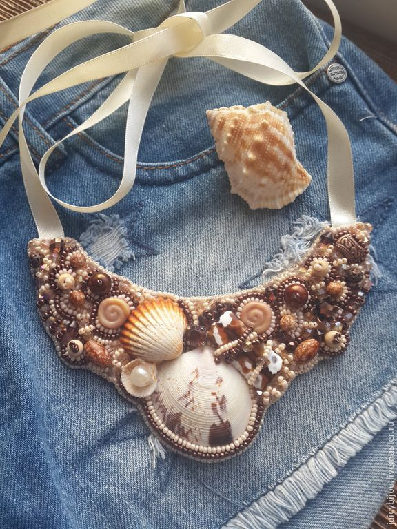 Купить Морская пена Колье из натуральных камней и ракушек - колье купить, колье из ракушек