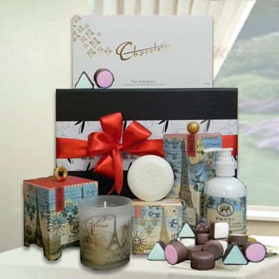 Paris Pamper Hamper - Luxurious pamper gift pack for women.  Includes soy wax candle, triple milled soap & hand and body lotion & pure indulgence chocolates.