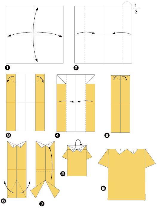 Diagramme d 39 origami de chemise vouwen pinterest chemises chemises et origami - Robe en origami ...