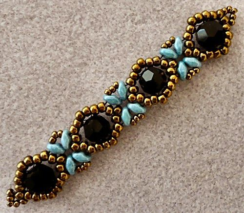 """Linda's Crafty Inspirations: Playing with my beads..SUNFLOWER BRACELET 11/0 seed beads Miyuki """"Dark Bronze"""" (11-457D) 8/0 seed beads Miyuki """"Dark Bronze"""" (8-457D) 8mm round crystals """"BlacK"""" (from Beads One) SuperDuo beads """"Blue Luster""""  Free YouTube video."""