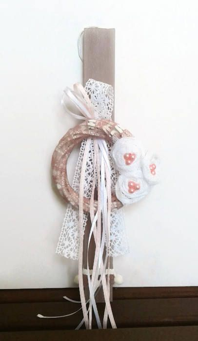 Greek Easter candle (lambada) - Vintage wreath