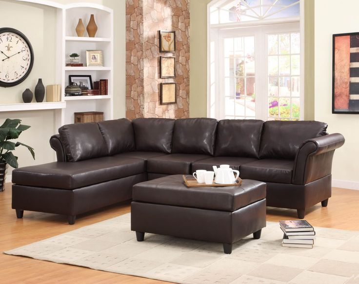 Chaise Lounge Sofa  pc Levan Collection dark brown bi cast vinyl upholstered sectional sofa set with wrap