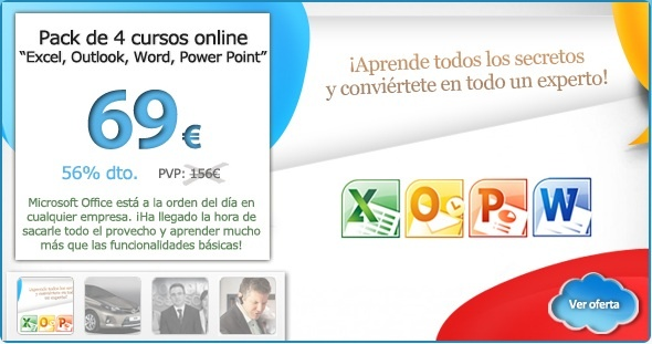 Pack de 4 cursos de MS Office (Excel, Word, Power Point y Outlook) con Mecenium por sólo 69€ - 56% de descuento