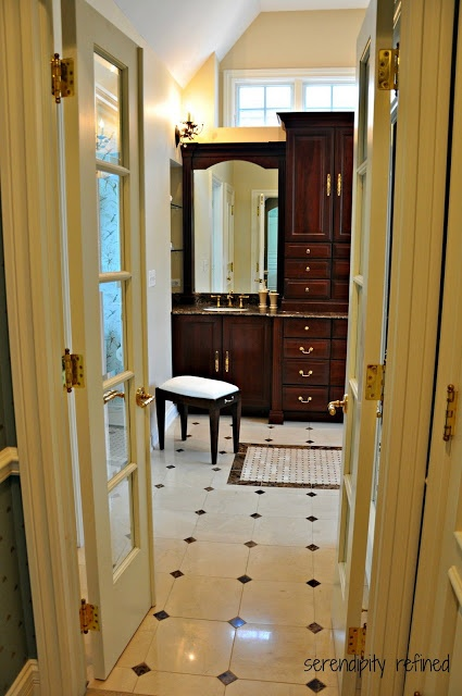 Serendipity refined master bath reveal french doors dark - Best paint color for crema marfil bathroom ...