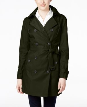 Michael Michael Kors Double-Breasted Hooded Trench Coat - Green L